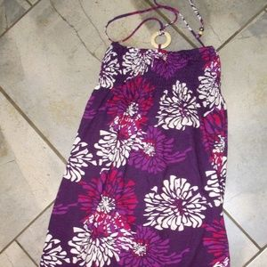Energie Purple Floral Halter Sun Dress S
